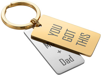 Limoges Jewelry Key Chains TWOTONE - Goldtone & Silvertone Personalized Block Text Double Tag Key Ring