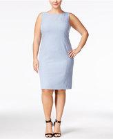 Nine West Plus Size Seamed Crosshatch Sheath Dress