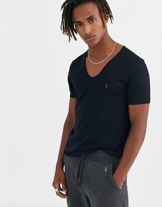 AllSaints Tonic scoop neck t-shirt with ramskull in navy