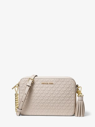 MICHAEL Michael Kors Ginny Medium Logo Debossed Pebbled Leather Crossbody Bag