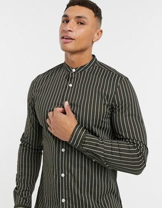 ASOS DESIGN stretch slim band collar shirt in khaki with narrow stripes