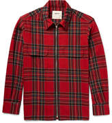 Noon Goons Zipper Checked Cotton And Wool-blend Flannel Shirt - Red