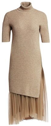 Brunello Cucinelli Cashmere & Tulle Lurex Midi Dress