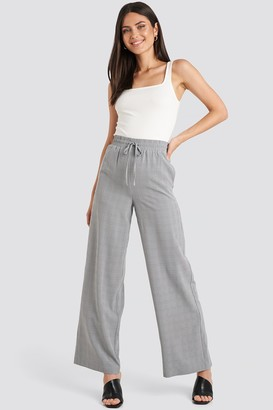 NA-KD Plaid Relaxed Suit Pants Grey