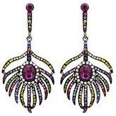 Butler & Wilson Butler and Wilson Multicoloured Pink Peacock Feather Earrings