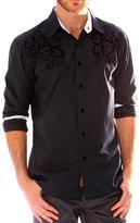 191 Unlimited Men's Black Embroidered Stripe Shirt