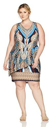 One World ONEWORLD Women's Plus Size Sleeveless Flip Flop Scoopneck Printed Dress