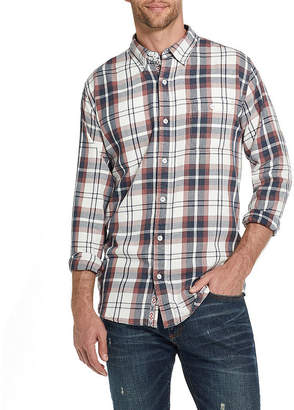 AMERICAN THREADS American Threads Washed Mens Long Sleeve Plaid Button-Front Shirt