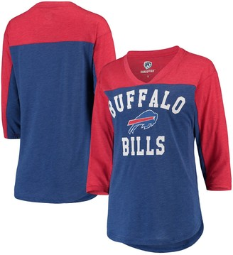 Buffalo David Bitton Women's Hands High Royal/Red Bills In the Zone 3/4-Sleeve V-Neck T-Shirt