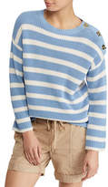 Lauren Ralph Lauren Striped Toggle Cotton Sweater