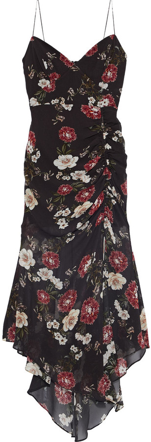 Nicholas Asymmetric Ruched Floral-print Silk-chiffon Midi Slip Dress