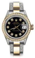 Rolex Oyster Perpetual Datejust with Black set Diamonds Dial Women's Watch 31mm
