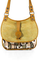 Balenciaga Tan Woven Leather Geometric Print Pony Hair Flap Shoulder Handbag