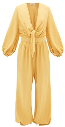 Adriana Degreas Plunge Tie-front Elasticated-cuff Jumpsuit - Womens - Yellow