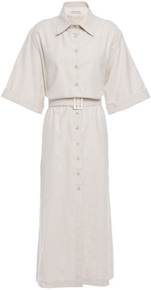 ANNA QUAN Zola Belted Brushed-cotton Midi Shirt Dress