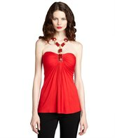 Sky red jersey jewel embellished strapless top