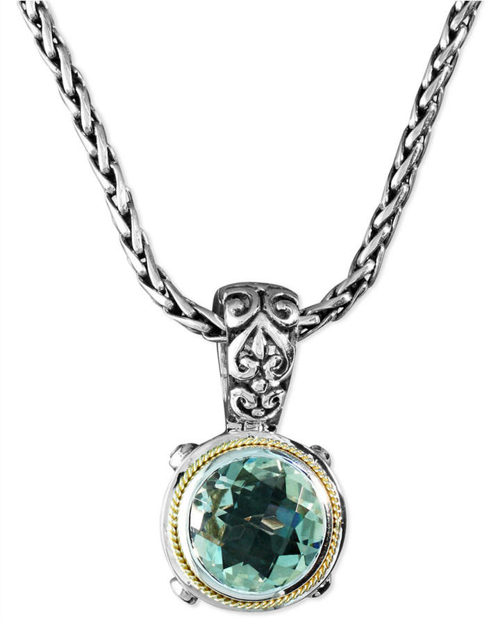 Effy Balissima by Green Quartz Round Pendant (5 ct. t.w.) in Sterling Silver and 18k Gold