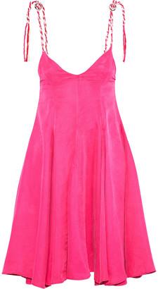 Paper London Scala Braid-trimmed Washed-twill Mini Dress