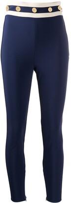 Elisabetta Franchi High-Waisted Button Embellished Leggings
