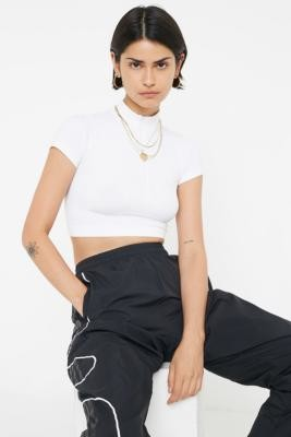 Urban Outfitters Baby Rib Half-Zip Funnel Neck Top - white XS at