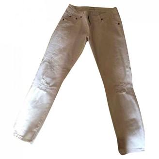 One Teaspoon White Cotton Trousers for Women
