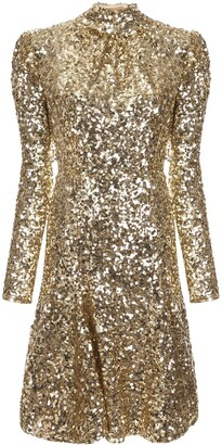 Dolce & Gabbana Sequin-Embellished Rounded-Shoulders Dress