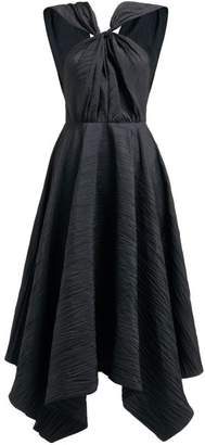 A.W.A.K.E. Mode Andie Knotted Cut Out Taffeta Midi Dress - Womens - Black