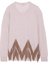 Autumn Cashmere Suede-Trimmed Cashmere Sweater