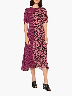 Paul Smith Urban Fox Camouflage Print Dress, Pink/Charcoal