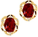 Gem Stone King 2.84 Ct Checkerboard Red Garnet and White Diamond 14k Yellow Gold Earrings