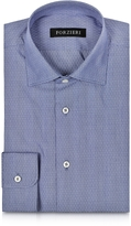 Forzieri Dark Blue Mini Dots Cotton Slim Fit Men's Shirt
