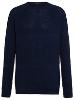 Denham Jv Bubble Knit Crew Neck Jumper, Dark Navy Marl