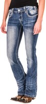 Rock & Roll Cowgirl Rival Multi Chevron Stitch Jeans - Slim Fit, Low Rise, Bootcut (For Women)