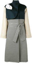 Awake gingham and denim trench coat - women - Cotton - 34