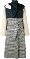 Awake gingham and denim trench coat - women - Cotton - 36