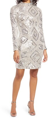 Eliza J Mock Neck Long Sleeve Cocktail Dress