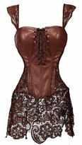 Miss Moly Women Sexy Overbust Lace Floral Boned Corset Bustier Top Dress
