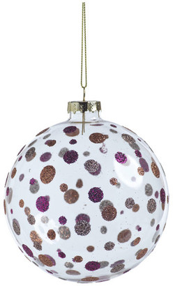 Neve Zodax Glittered Polka Dot Holiday Ball Ornaments, Set of 6, 4""