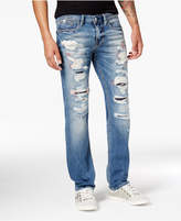 GUESS Men's Vermont Slim-Straight Fit Stretch Destroyed Jeans