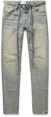 Fear Of God Slim-Fit Tapered Belted Distressed Denim Jeans
