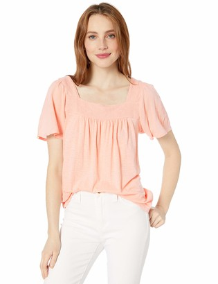 Lucky Brand Women's Embroidered Square Neck TOP
