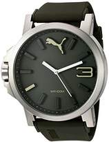 Puma Quartz Stainless Steel and Polyurethane Automatic Watch, Color:Green (Model: PU103461013)