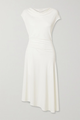 By Malene Birger Aidia Draped Stretch-crepe Midi Dress - Off-white
