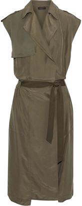 Rag & Bone Bailee Wrap-effect Twill-paneled Washed-silk Dress