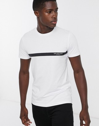 Selected stripe logo t-shirt in white