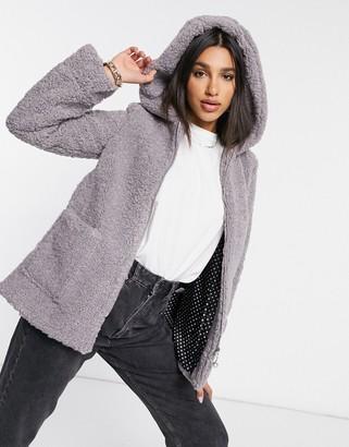 ELVI shearling hooded coat in grey