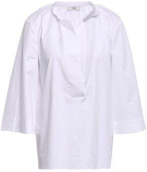 Tibi Gathered Cotton-poplin Top