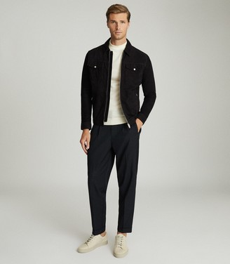 Reiss CASH SUEDE FOUR POCKET JACKET Navy