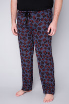 Yours Clothing BadRhino Blue Marl Cassette Tape Print Loungewear Bottoms