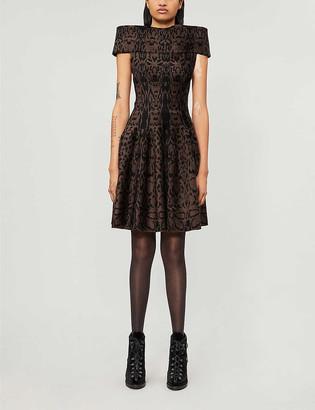 Azzedine Alaia Graphic-pattern stretch-woven mini dress